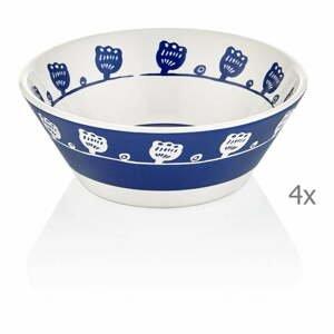 Súprava 4 modro-bielych porcelánových misiek Mia Bloom, ⌀ 15 cm