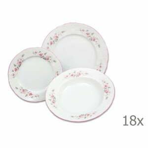 Sada 18 porcelánových tanierov s ružičkami Thun Bernadotte