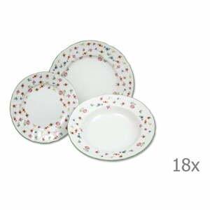 Sada 18 porcelánových tanierov s motívom kvetín Thun Bernadotte