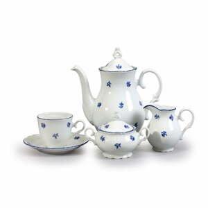 Porcelánová sada na kávu s modrou kventikou Thun Ophelia
