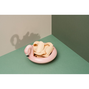 Ružová keramická plávajúca miska DOIY Flamingo, 18 x 16 cm