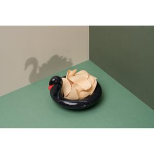 Čierna keramická plávajúca miska DOIY Black Swan, 18 x 16 cm