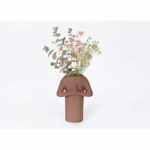 Hnedá keramická váza DOIY Namaste, výška 20 cm