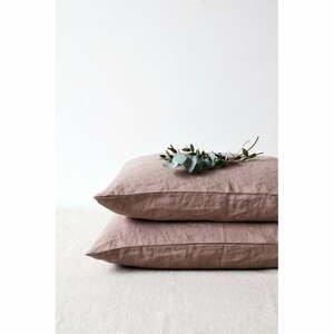 Staroružová ľanová obliečka na vankúš Linen Tales, 70 x 90 cm