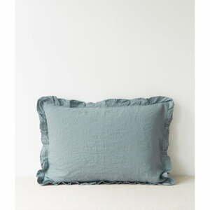 Svetlomodrý ľanový vankúš s riaseným lemom Linen Tales, 50 x 60 cm
