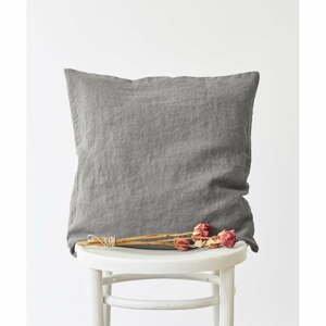 Popolavosivá ľanová obliečka na vankúš Linen Tales, 45 x 45 cm