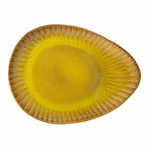 Žltý servírovací tanier z kameniny Bloomingville Cala, 34 x 25,5 cm