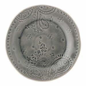 Sivý tanier z kameniny Bloomingville Rani, ø 26,5 cm