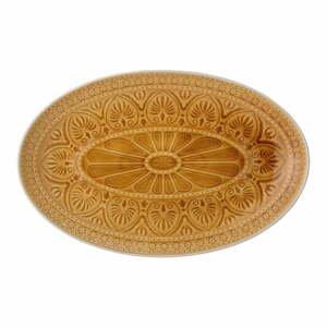 Oranžovožltý servírovací tanier z kameniny Bloomingville Rani, 39 x 25 cm