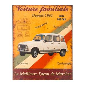 Plechová ceduľa Antic Line Voiture Familiare, 22 x 28 cm