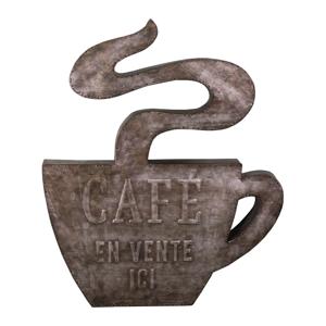 Nástenný kovový dekoratívny prvok Antic Line Cafe, 49 x 58,5 cm