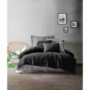 Čierno-sivé bavlnené obliečky s plachtou Cotton Box Plain, 200 x 220 cm