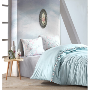 Mentolovomodré bavlnené obliečky s plachtou Cotton Box Linda, 200 x 220 cm