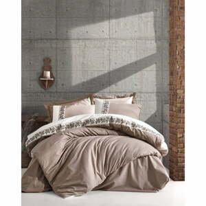 Béžové bavlnené obliečky s plachtou Cotton Box Rosinda, 200 x 220 cm
