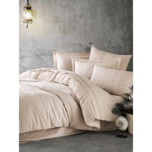 Béžové bavlnené obliečky s plachtou Cotton Box Elba, 200 x 220 cm