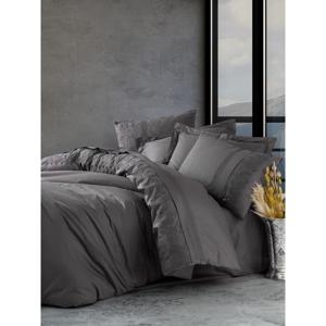 Tmavosivé bavlnené obliečky s plachtou Cotton Box Enzo, 200 x 220 cm
