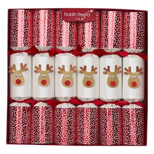 Sada 6 vianočných crackerov Robin Reed Reindeer