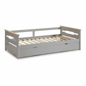 Sivá detská posteľ s výsuvným lôžkom Marckeric Elisa, 90 x 190 cm
