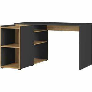 Čierno-hnedý rohový písací stôl Germania Austin