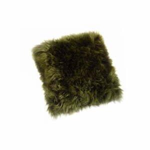 Tmavozelený vankúš z ovčej kožušiny Royal Dream Sheepskin, 45 x 45 cm