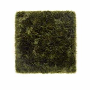 Tmavozelený koberec z ovčej kožušiny Royal Dream Zealand Square, 70 x 70 cm
