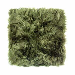 Tmavozelený vankúš na sedenie z ovčej kožušiny na jedálenskú stoličku Royal Dream Zealand, 40 x 40 cm