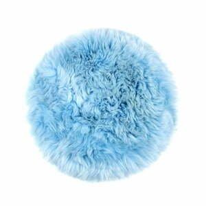 Modrý vankúš na sedenie z ovčej kožušiny na jedálenskú stoličku Royal Dream Zealand Round, ⌀ 70 cm
