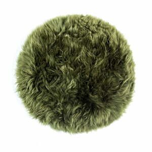 Tmavozelený sedák z ovčej kožušiny na jedálenskú stoličku Royal Dream Zealand Round, ⌀ 70 cm