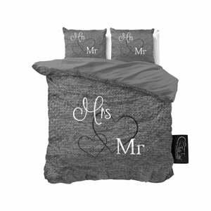 Antracitovosivé bavlnené obliečky na dvojlôžko Pure Cotton Mr and Mrs, 200 x 200 cm