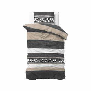 Sivé bavlnené obliečky na jednolôžko Pure Cotton Northern Stripe, 140 x 200/220 cm
