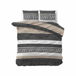 Sivé bavlnené obliečky na dvojlôžko Pure Cotton Northern Stripe, 200 x 200/220 cm