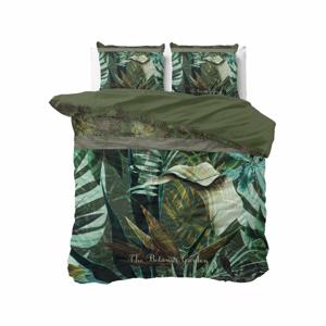 Zelené bavlnené obliečky na dvojlôžko Pure Cotton Botanic Garden, 200 x 200/220 cm