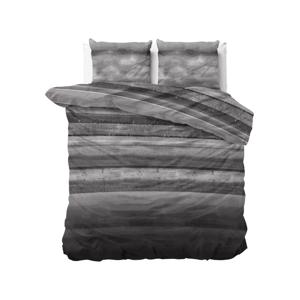 Sivé flanelové obliečky na dvojposteľ Sleeptime Marcus, 140 x 220 cm