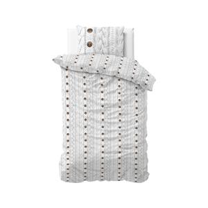 Biele flanelové obliečky na jednolôžko Sleeptime Knit Buttons, 140 x 220 cm