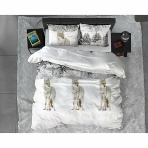 Flanelové obliečky na jednolôžko Sleeptime Winter Wolf, 140 x 220 cm