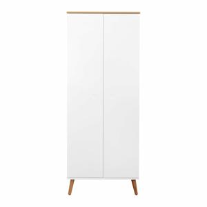 Biela šatníková skriňa v dekore dubového dreva Tenzo Dot, výška 201 cm