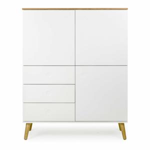 Biela trojdverová skriňa s detailmi v dekore dubového dreva s 3 zásuvkami Tenzo Dot, výška 137 cm