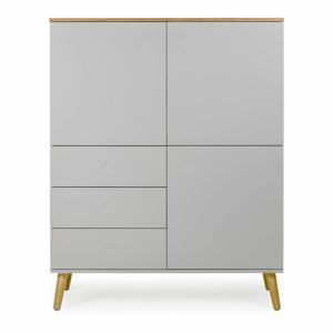 Sivá trojdverová skriňa s detailmi v dekore dubového dreva s 3 zásuvkami Tenzo Dot, výška 137 cm