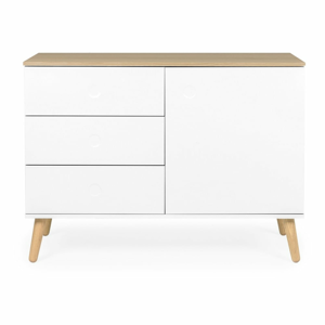 Biely jednodverový príborník s detailmi v dekore dubového dreva s 3 zásuvkami Tenzo Dot