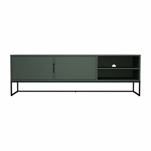 Zelený TV stolík s kovovými nohami v čiernej farbe Tenzo Lipp, šírka 176 cm