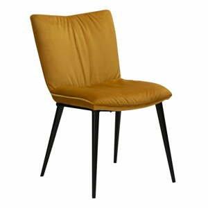 Žltá jedálenská stolička so zamatovým povrchom DAN-FORM Denmark Join
