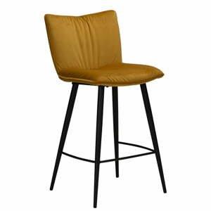 Žltá zamatová barová stolička DAN-FORM Denmark Join