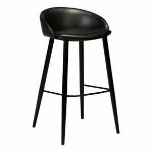 Čierna barová stolička v imitácii kože DAN-FORM Denmark Dual