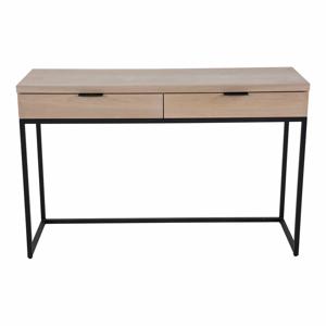 Konzolový stolík s 2 zásuvkami z jaseňového dreva a kovovou konštrukciou Canett Cara, dĺžka 120 cm