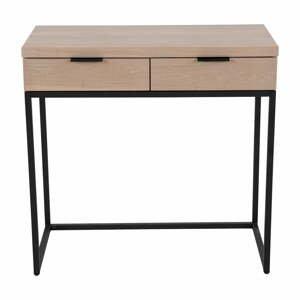 Konzolový stolík s 2 zásuvkami z jaseňového dreva a kovovou konštrukciou Canett Cara, dĺžka 80 cm