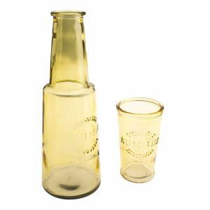 Žltá sklenená karafa s pohárom, 800 ml