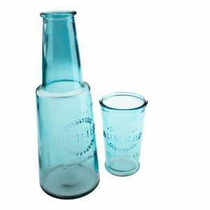 Modrá sklenená karafa s pohárom, 800 ml