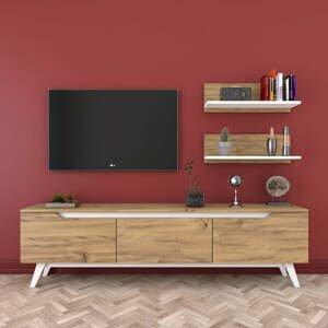Set TV stolíka a 2 nástenných políc v drevenom dekore Rani