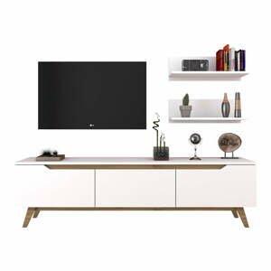 Set bieleho TV stolíka a 2 nástenných políc Wren