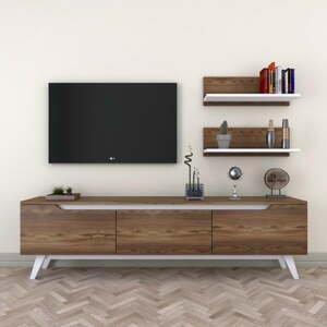 Set TV stolíka a 2 nástenných políc v drevenom dekore Wren
